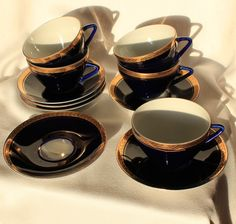 Vintage Set Lomonosov Tea cup & Saucer Cobalt Blue and Gold.