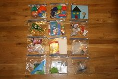Toddler Activity Bags for airplane rides, waiting rooms, etc. Awesome!