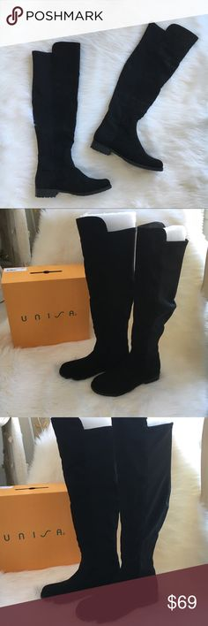 Over the knee boots Black boots with faux suede in the front and spandex in the back. New! Authentic 🚫trades Unisa Shoes Over the Knee Boots