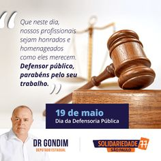 Amigos, convido-lhes para refletirmos, juntos, sobre a importância do Defensor e da Defensoria pública para a manutenção e aperfeiçoamento da ordem jurídica em nosso país.#77000 #FichaLimpa #Segurança #DrGondim #votedrgondim77000