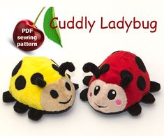 """~ ~ ~THIS LISTING IS NOT FOR A FINISHED PLUSH. THIS IS FOR A PATTERN AND INSTRUCTIONS ~ ~ ~ Printable sewing pattern & instructions to make your own cuddly ladybug. Make a friend happy with a cute gift! The dimension of the resulting plush: 15cm wide x 10cm tall x16 cm (6"""" x 4"""" x 6,2"""") ~ Super cute ~ Intermediate level ~ Has clear instructions, relative easy to make ~ Can be sewn by hand or machine ~ ~ ~ ~ ~ ~ ~ ~ ~ ~ ~ You can buy an embroidery file for the bugs here: https:/&#x..."""