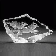 Wolf Pair Crystal Sculpture   33599   Mats Jonasson Maleras