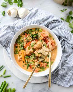 Thai Coconut Curry Shrimp Noodle Bowls.