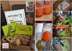 """animal print balloons, cute animal cracker idea with label """"Beware party animals on the loose""""."""