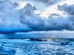 """Clouds and Sea"" by CarolLMiller Photography – Beautiful artwork featuring the sea and a storm coming together.  Artwork available as: canvas print, acrylic print, metal print, framed print, poster, greeting card, and phone case.  You can also buy the print on high quality acid-free paper and frame to your own specifications.  All products include a money-back guarantee."