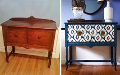 Love the color and print. I may need to head to goodwill to find some furniture to re-finish!