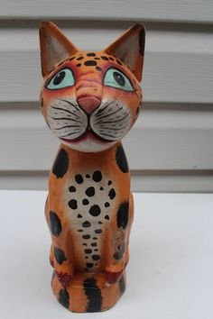 "Vintage Hand Carved Hand Painted Wood Cat Statue Figurine Collectible 10"" Cute 