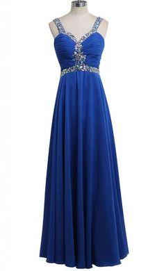 ORIENT BRIDE Women's Pleat Chiffon Evening Dresses Long Prom Size 2 US Royal Blue