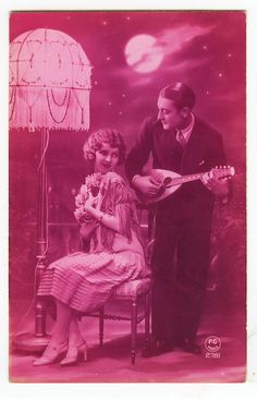 1920s French Art Deco MUSIC FLAPPER Mandolin Glamour antique photo postcard
