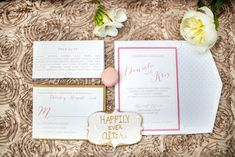Blush and gold wedding invitation suite   Maru Photography   see more on: http://burnettsboards.com/2014/08/hidden-garden-bridal-inspiration/