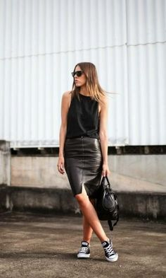 Look: Leather Pencil Skirt