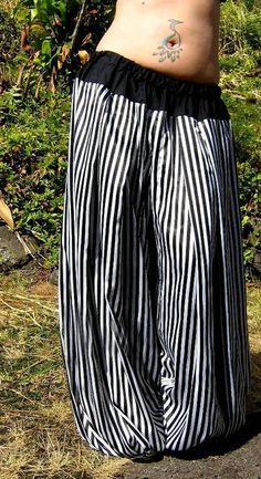 Pantaloons  Narrow Striped Satin  Custom Size by BellyRoll on Etsy, $80.00