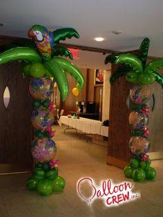 Tropical Columns #ballooncolumns #decor #partydecor #airfilleddecor #kidsparty #ballooncrewinc #partyideas