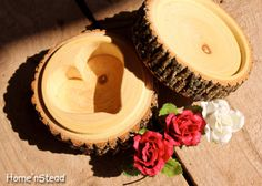 Rustic Log Jewelry Box Heart Shaped Custom Personalization Rustic Wedding Round…