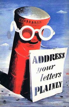 Zero (Hans Schleger) for the GPO – Address your letters plainly – vintage poster