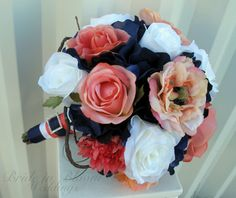 Wedding bouquet coral navy white rose by BrideinBloomWeddings