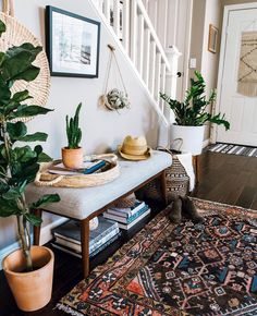 Love this stylish entryway! It has everything a welcoming, cozy entryway should - comfy sitting bench with storage underneath, gorgeous vintage rug, greenery decor. Just lovely! - My Dreamy Interiors Greenery Decor, Rustic Decor, Farmhouse Decor, Modern Farmhouse, Farmhouse Ideas, Rustic Modern, Rustic Chic, Farmhouse Style, Rugs In Living Room