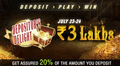 Deposit at #RummyCircle  and Play in the Tournament to Win Rs.3 lakh in Cash Prizes!