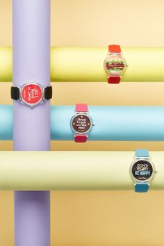 ASOS Watches By Matthew Johnston  DC: Paint dowels in pastel colors in tinker toy configuration for jewelry photography.