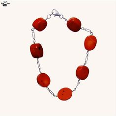 Coral Red Oval, 925 Sterling Silver Bracelet- Handmade - Natural Stones - Jewelry - FREE SHIPPING de ArtGemStones en Etsy