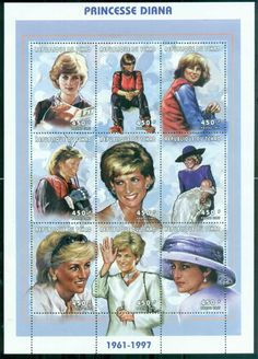 Chad 1997 Princess Diana in Memoriam, The Many Faces of Diana 450f MS MUH