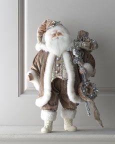 """Joyeux Noel"" Christmas Santa at Horchow. love the colors French Christmas, Noel Christmas, Father Christmas, White Christmas, Vintage Christmas, Christmas Centerpieces, Christmas Decorations, Santa Doll, Christmas Wonderland"