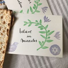 Cards to decorate your Seder table or to be gifted. Embossed and printed by hand - Design by My Stamped World