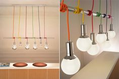 ospensione su tavolo lungo - Cerca con  Something we talked about before on how to give variety to your edison bulb chandelier but in a less industrial way. http://www.pinterest.com/pin/363525001145059864/