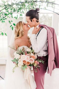Dusty Rose Bouquet & Groom Attire // Romantic Dusty Rose Wedding Inspiration via TheELD.com