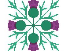 Slim simple geometric thistle cross stitch by crossstitchtheline