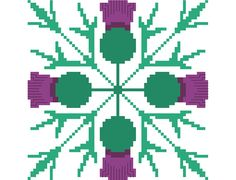 Slim simple geometric thistle cross stitch by crossstitchtheline This pretty cross stitch tile is perfect on its own and also looks stunning if embroidered as a repeat pattern.