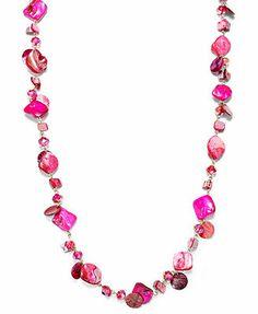 Style&co. Gold-Tone Beaded Fuchsia Long Necklace