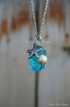 Sea glass pendant necklace, wire wrapped sea glass, starfish charm, silver plated, freshwater pearl