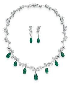 A SUITE OF EMERALD AND DIAMOND JEWELRY, BY TIFFANY & CO.