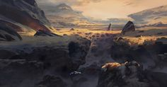 """""""The hot and barren surface of Trollhjem. Giant craters lead to massive cave…"""
