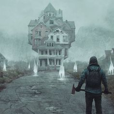 The house with many rooms.  To hide from an axe wielding maniac😂😁 . . Absolutely amazing detail and design by concept artist Gilles Ketting🎨 . . #paintingswow #illustration #fantasyart #digitalart #beautiful #instaart #cool #instacool #like