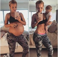 Queensland mother of two, Tammy Hembrow, has shared staggering before and after photos - capturing her physique while heavily pregnant and again seven months after giving birth. Pregnancy Goals, Pregnancy Outfits, Pregnancy Workout, Pregnancy Photos, Pregnancy Fitness, Maternity Pictures, Baby Pictures, Fotos Baby Shower, Tammy Hembrow