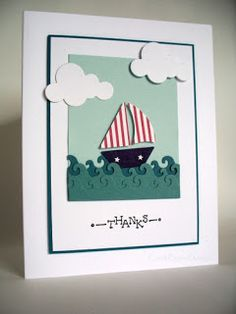 handmade card ... die cut scene ... sailboat on curly waves with puffy white cloudes ... sweet!!