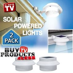 Outdoor Solar Gutter LED Light 2 Pack Deal - White Sun Power Smart LED Solar Gutter Night Utility Security Light for Indoor Outdoor Permanent or Portable for Any House, Fence, Garden, Garage, Shed, Walkways, Stairs - Anywhere Safety Lite. by BuyTVProducts Direct. $29.98. The White Gutter LightTM is a revolutionary multi-use solar product with a Patent Pending attachment system that attaches to Gutters, Signs, Fences, and to any flat surface. Ideal for lighting ...
