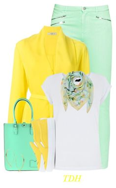 """""""Mint & Yellow"""" by talvadh ❤ liked on Polyvore featuring French Connection, Etro, ESCADA, Joshua's and Lana"""