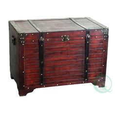Quickway Imports Old Fashioned Wood Storage Trunk Wooden Treasure Hope Chest Coffee Table With