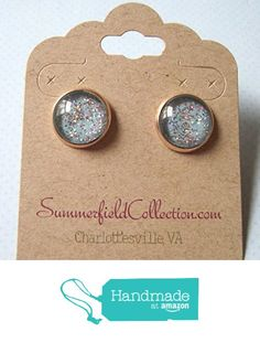 Glitter Glass Rose Gold-Tone Galaxy Stud Earrings Blue Sky Iridescent from Summerfield Collection http://www.amazon.com/dp/B01ADZ1PQO/ref=hnd_sw_r_pi_dp_4StLwb1GSKXSH #handmadeatamazon