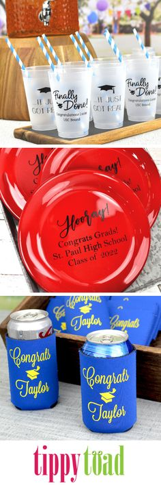 Grad Party Essentials - Make a memorable statement at your grad& graduation party with custom printed cups, plates and can coolers. Graduation Party Planning, Graduation Party Supplies, Graduation Ideas, Graduation Photo Displays, Nurse Party, Grad Gifts, Grad Parties, How To Memorize Things, Pocket Books