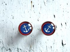 Anchor studs earrings white blue red -  Nautical jewelry - cute ear studs post - glass dome anchor earrings - anchor jewelry