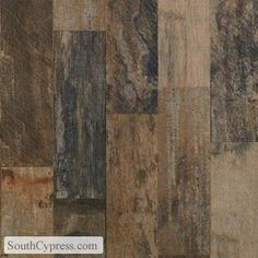 """Wood-like ceramic tile floors.  Love this for a kitchen!  Vintage Woodlands 6"""" x 24"""" - Night"""