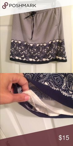 Navy blue and White Skirt Navy and White lined skirt with pockets. Drawstring and elastic waist. Polyester and spandex. Size small but it will fit an avg sized medium approx size 8. Comes just above knees Lucy & Laurel Skirts Mini