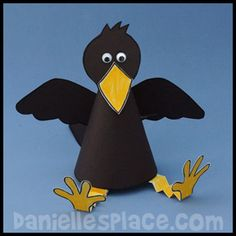 Bird Craft for Kids - Paper Raven Craft from www. - Bird Craft for Kids – Paper Raven Craft from www.daniellesplac… The Effective Pictures We Offer - Bible Crafts For Kids, Fall Crafts For Kids, Preschool Activities, Art For Kids, Craft Kids, Bird Crafts, Animal Crafts, Paper Toy, Bird Theme