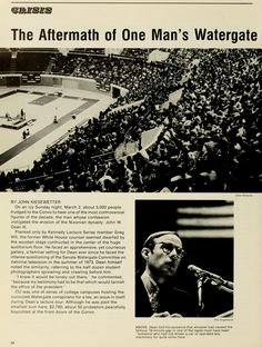 """Spectrum Green, 1975. """"On an icy Sunday night, March 2, 5,000 people trudged to the Convo to hear one of the most controversial figures of the decade, the man whose confession instigated the erosion of the Nixon dynasty: John W. Dean III."""" :: Ohio University Archives"""