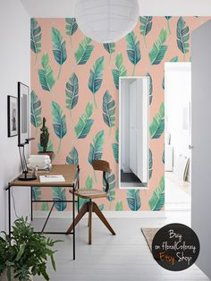 Green leaves on the peach background wallpaper || Exotic and tropical || Colorful || Watercolor #66