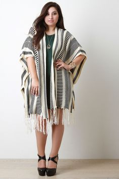 21aa4c876ddf4 Shop the Mixed Stripe Knit Fringe Cardigan featuring an open front